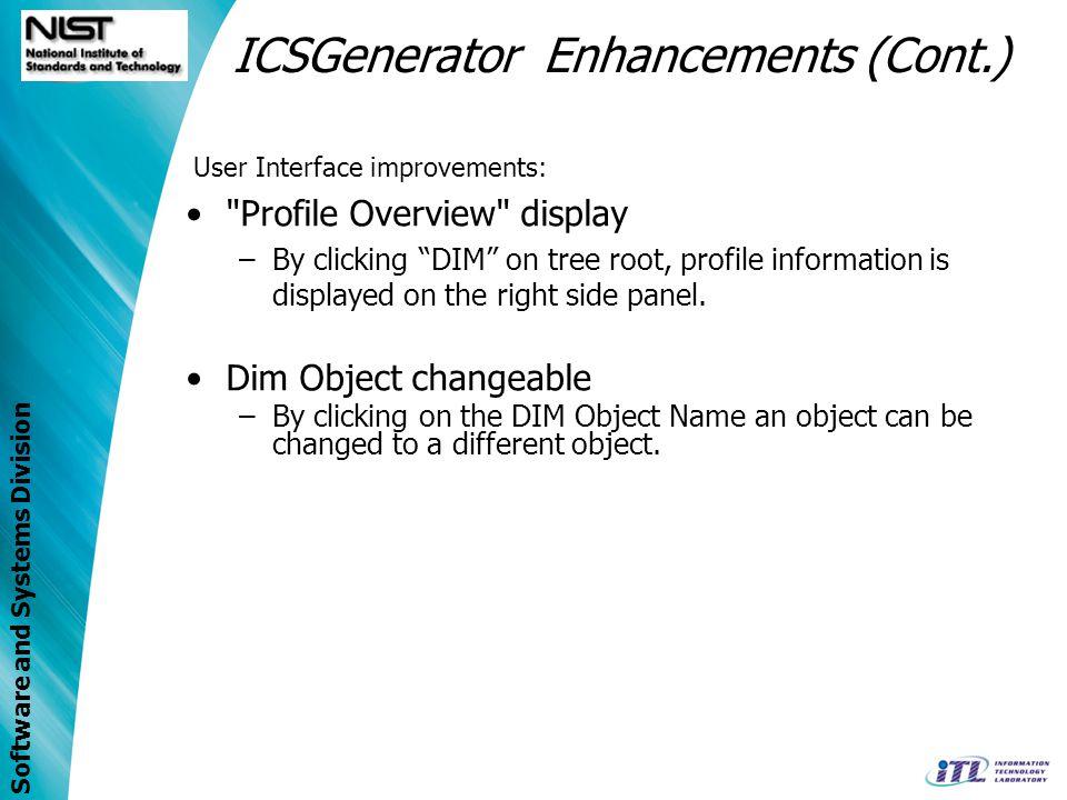 ICSGenerator Enhancements (Cont.)