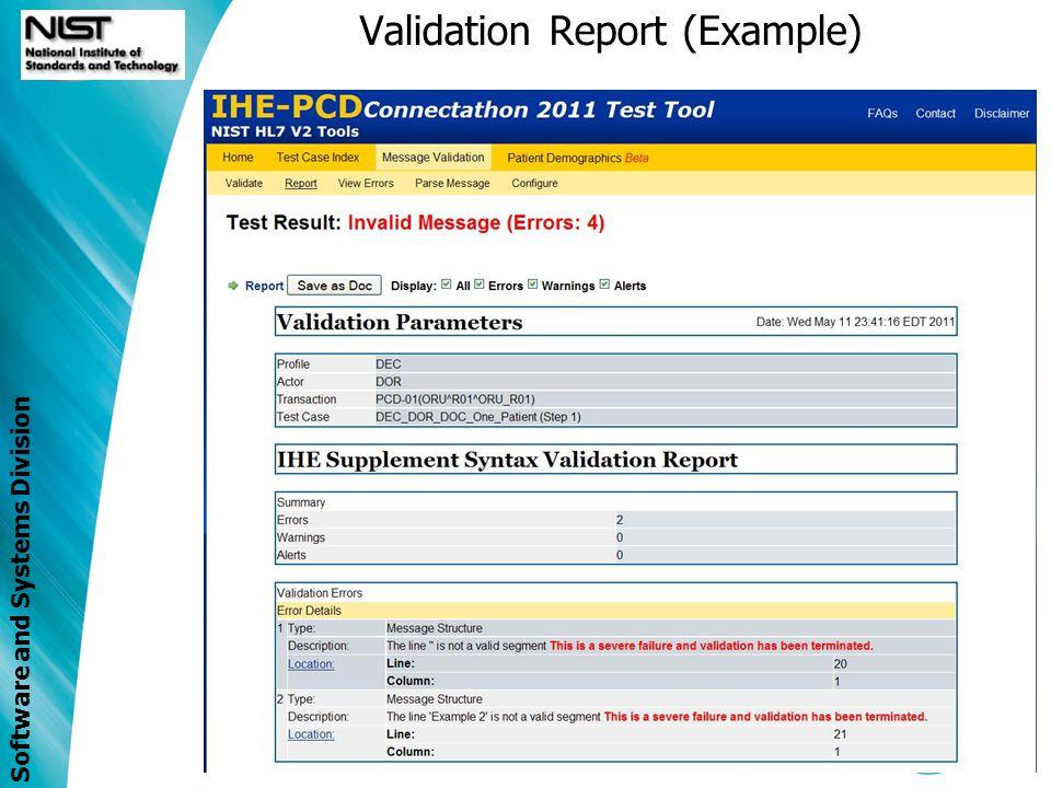 Validation Report (Example)