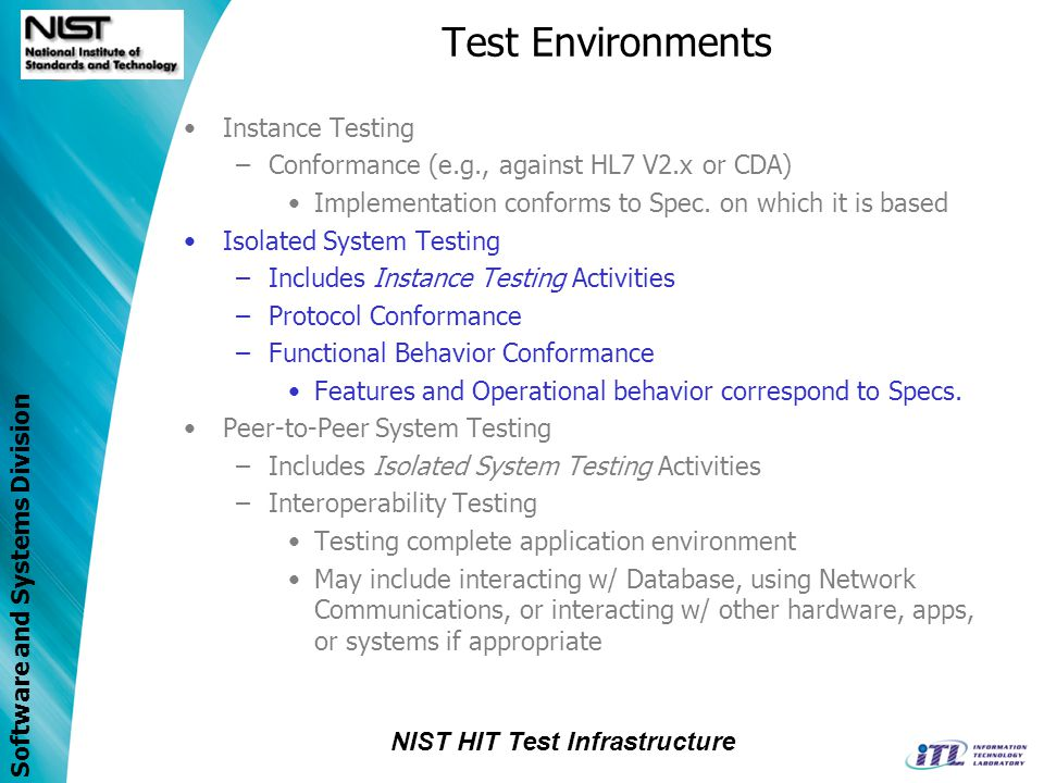 Test Environments Instance Testing