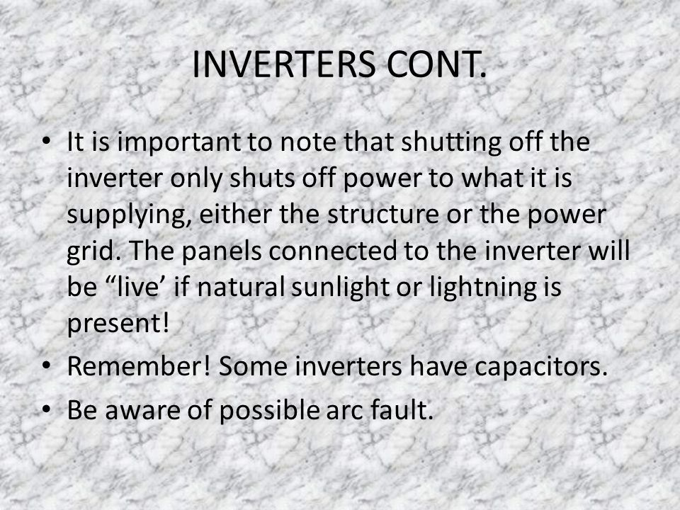 INVERTERS CONT.