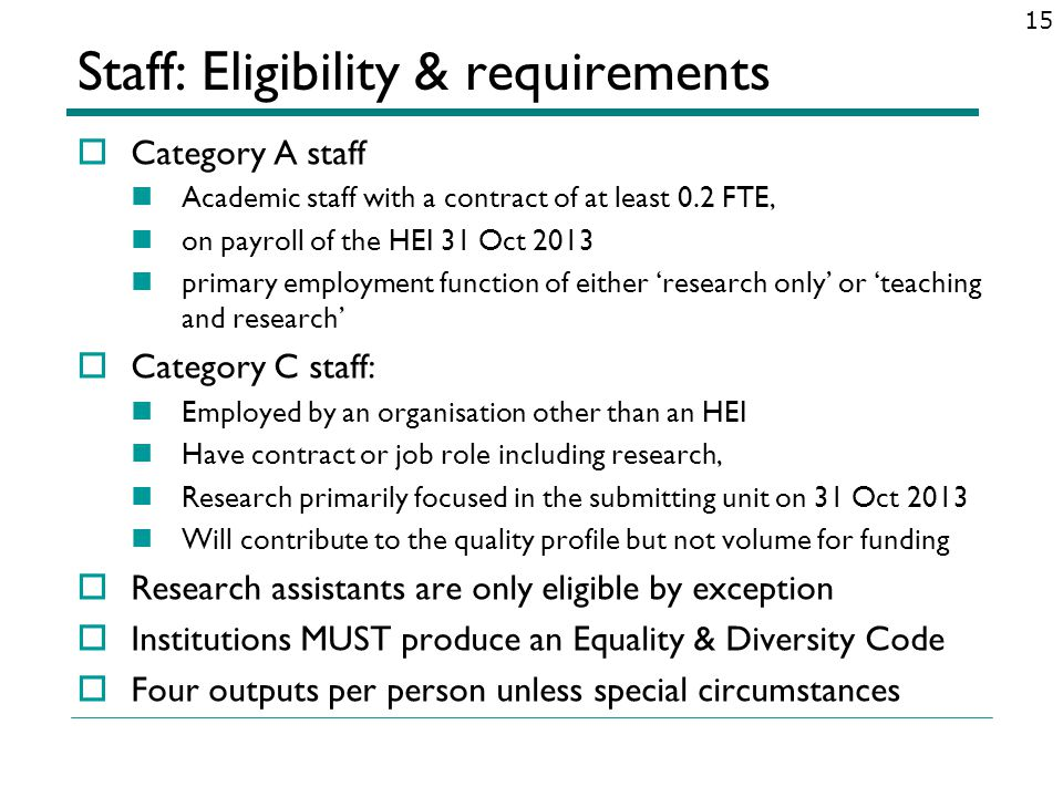 Staff: Eligibility & requirements