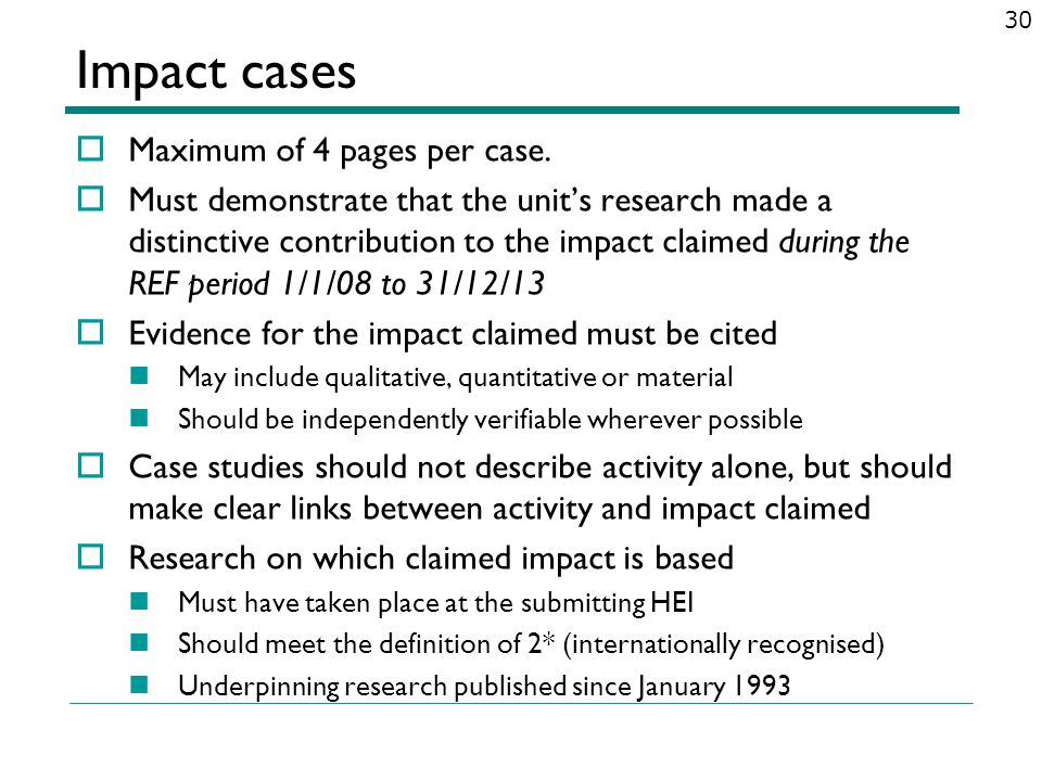 Impact cases Maximum of 4 pages per case.