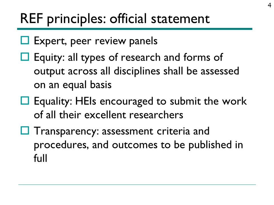 REF principles: official statement