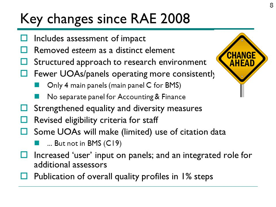 Key changes since RAE 2008 Includes assessment of impact