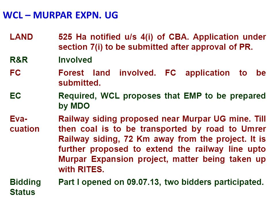 WCL – MURPAR EXPN. UG LAND