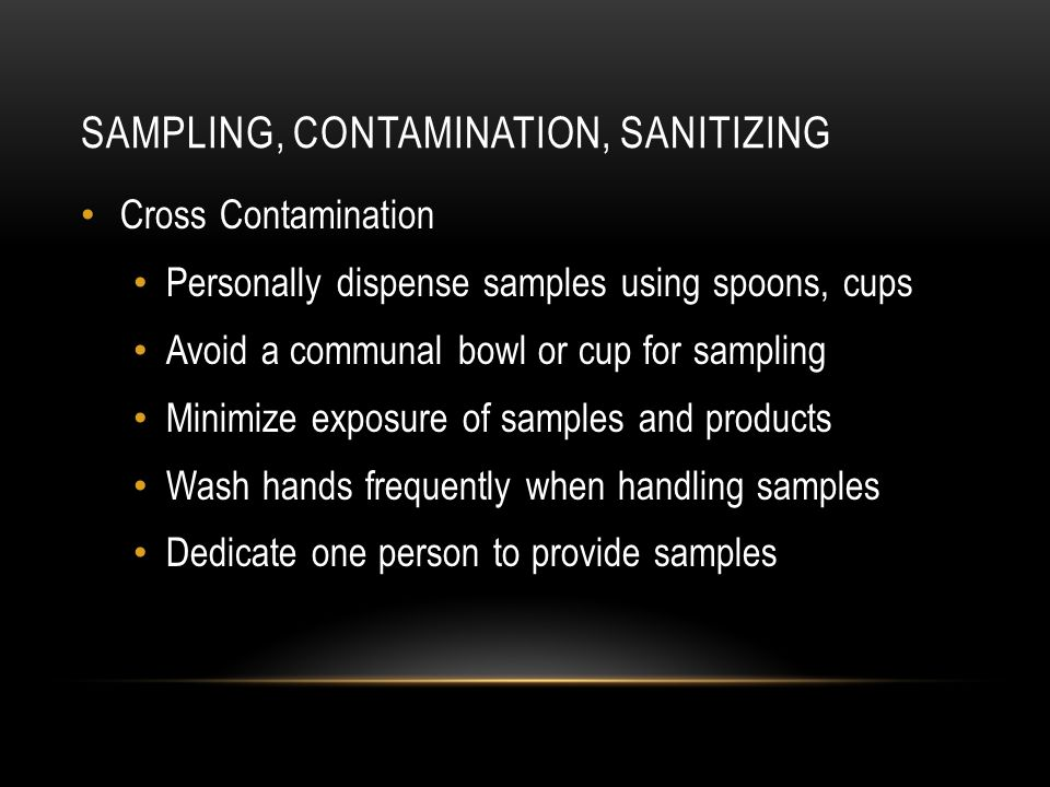 Sampling, Contamination, sanitizing