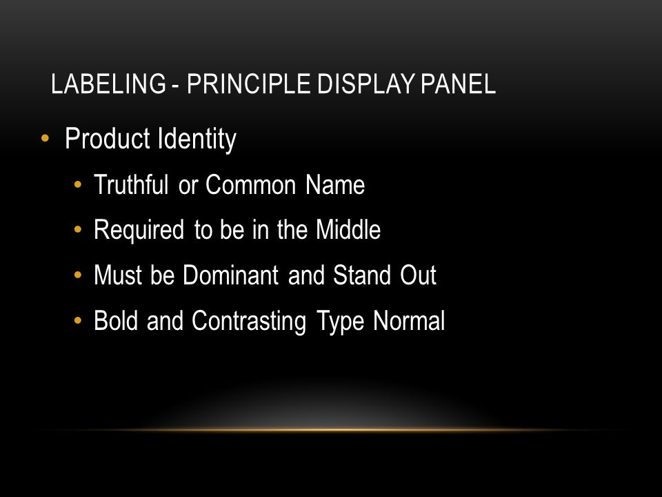 Labeling - Principle Display Panel