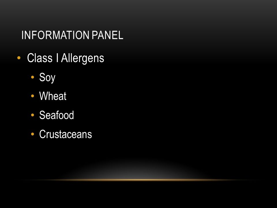 Information Panel Class I Allergens Soy Wheat Seafood Crustaceans