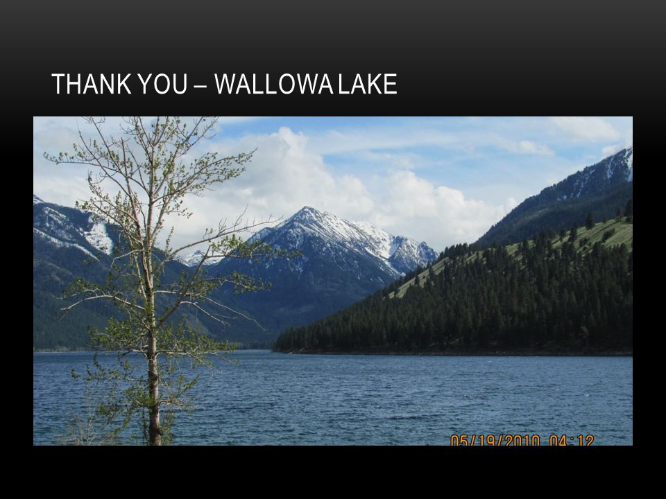 Thank You – Wallowa Lake