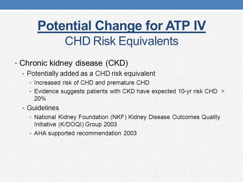 Potential Change for ATP IV CHD Risk Equivalents