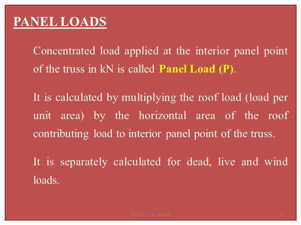 PANEL LOADS Concentrated load applied at the interior panel point of the truss in kN is called Panel Load (P).