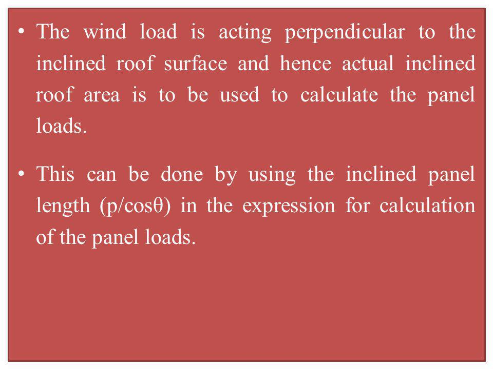 The wind load is acting perpendicular to the inclined roof surface and hence actual inclined roof area is to be used to calculate the panel loads.