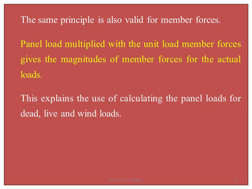 The same principle is also valid for member forces.