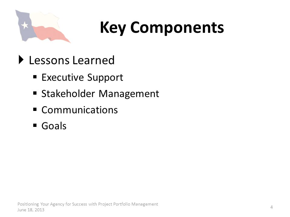 Key Components Lessons Learned Executive Support