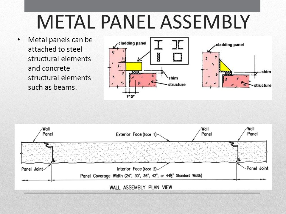 METAL PANEL ASSEMBLY Metal panels can be attached to steel structural elements and concrete structural elements such as beams.