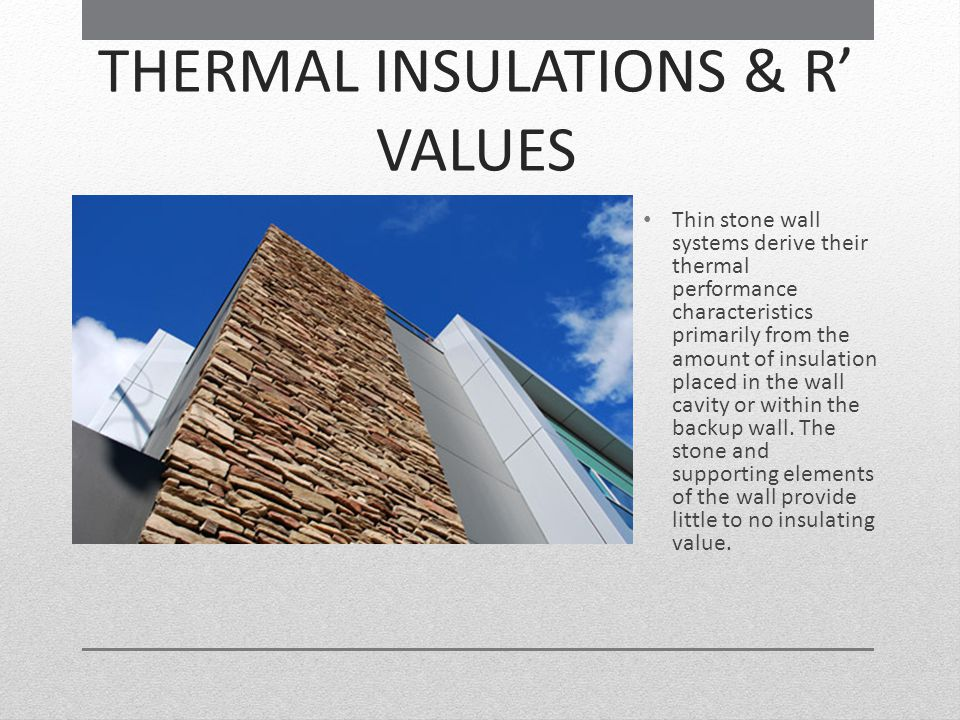 THERMAL INSULATIONS & R' VALUES