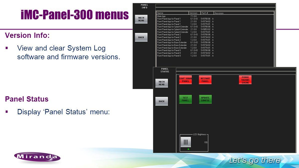 iMC-Panel-300 menus Version Info: