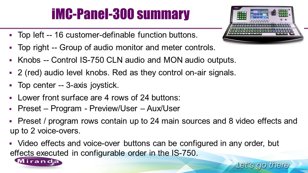 iMC-Panel-300 summary Top left -- 16 customer-definable function buttons. Top right -- Group of audio monitor and meter controls.