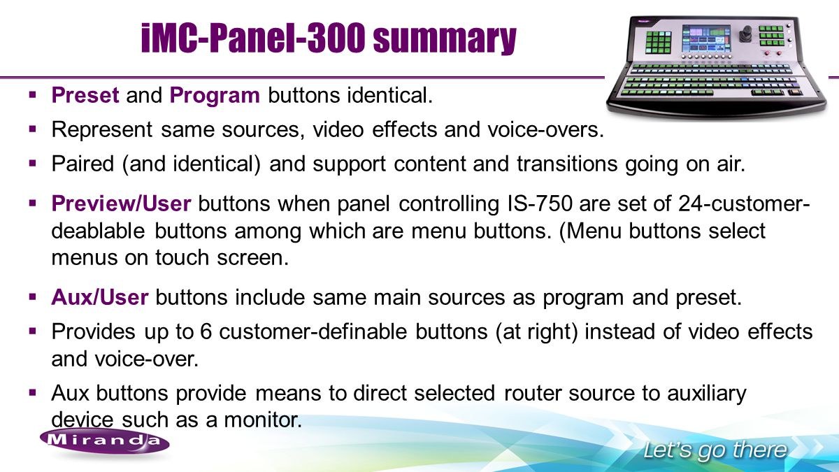 iMC-Panel-300 summary Preset and Program buttons identical.