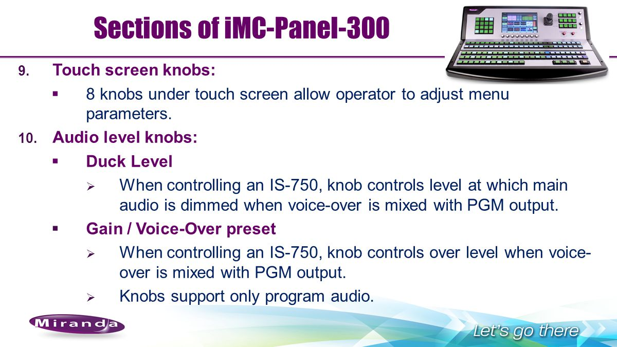 Sections of iMC-Panel-300