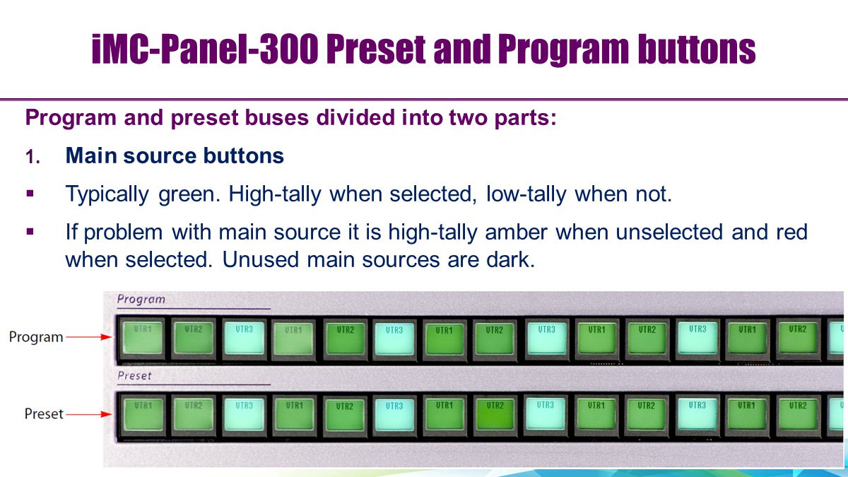 iMC-Panel-300 Preset and Program buttons