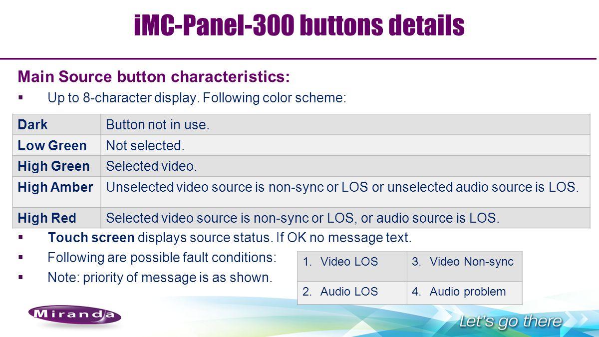 iMC-Panel-300 buttons details