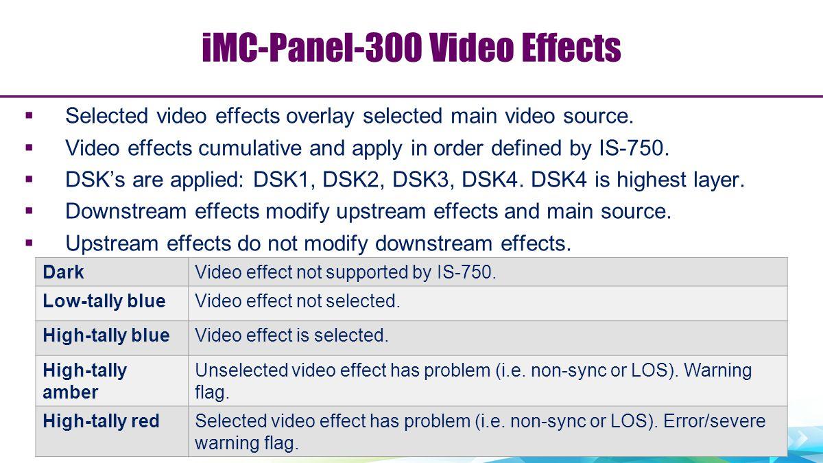 iMC-Panel-300 Video Effects