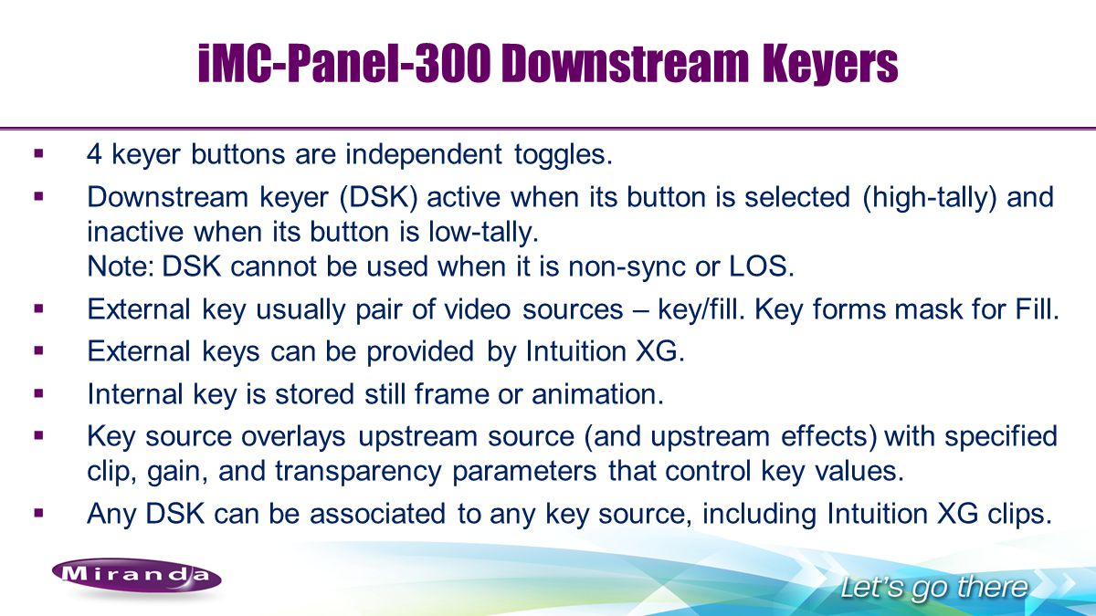 iMC-Panel-300 Downstream Keyers