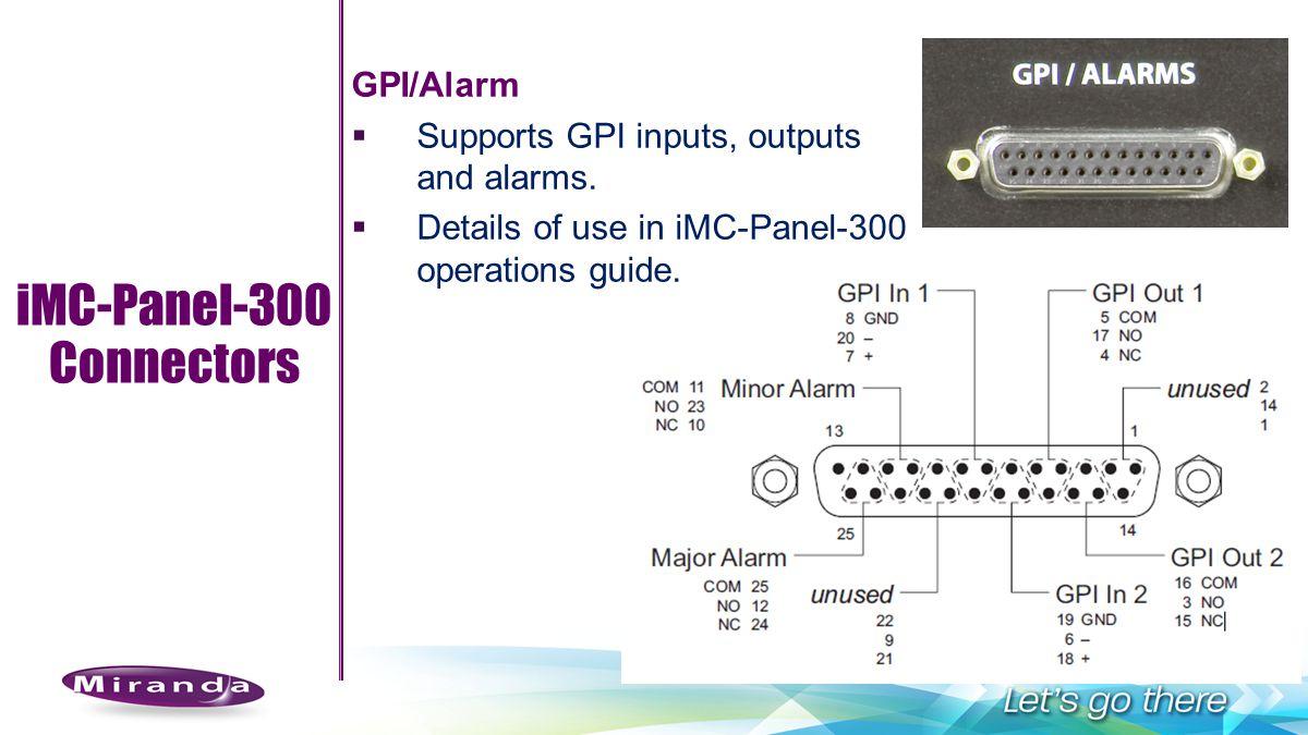 iMC-Panel-300 Connectors GPI/Alarm