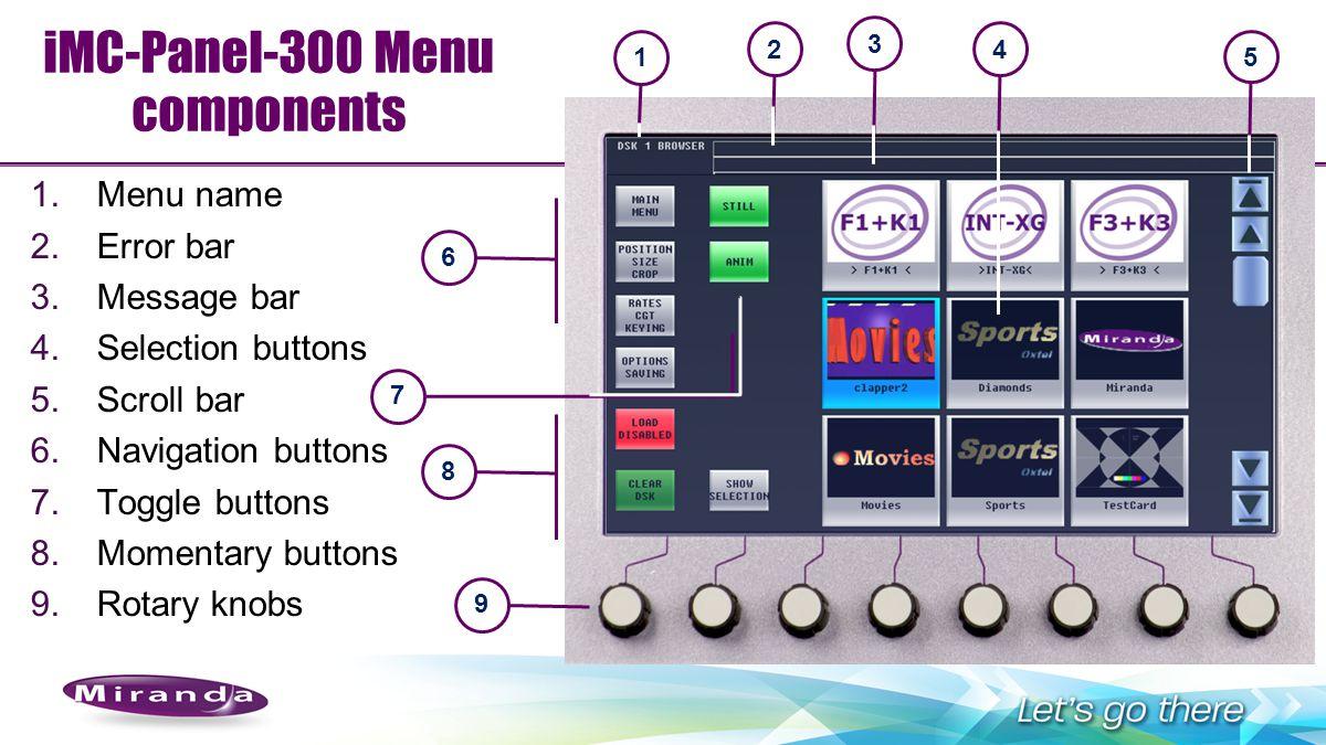 iMC-Panel-300 Menu components