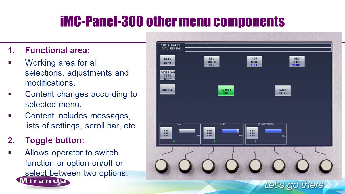 iMC-Panel-300 other menu components