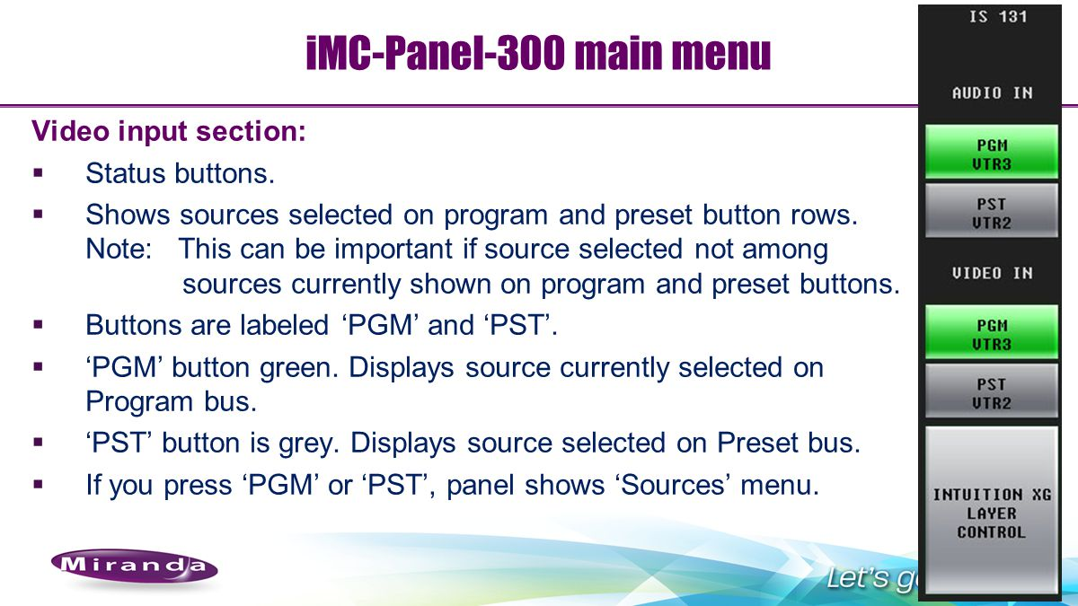 iMC-Panel-300 main menu Video input section: Status buttons.