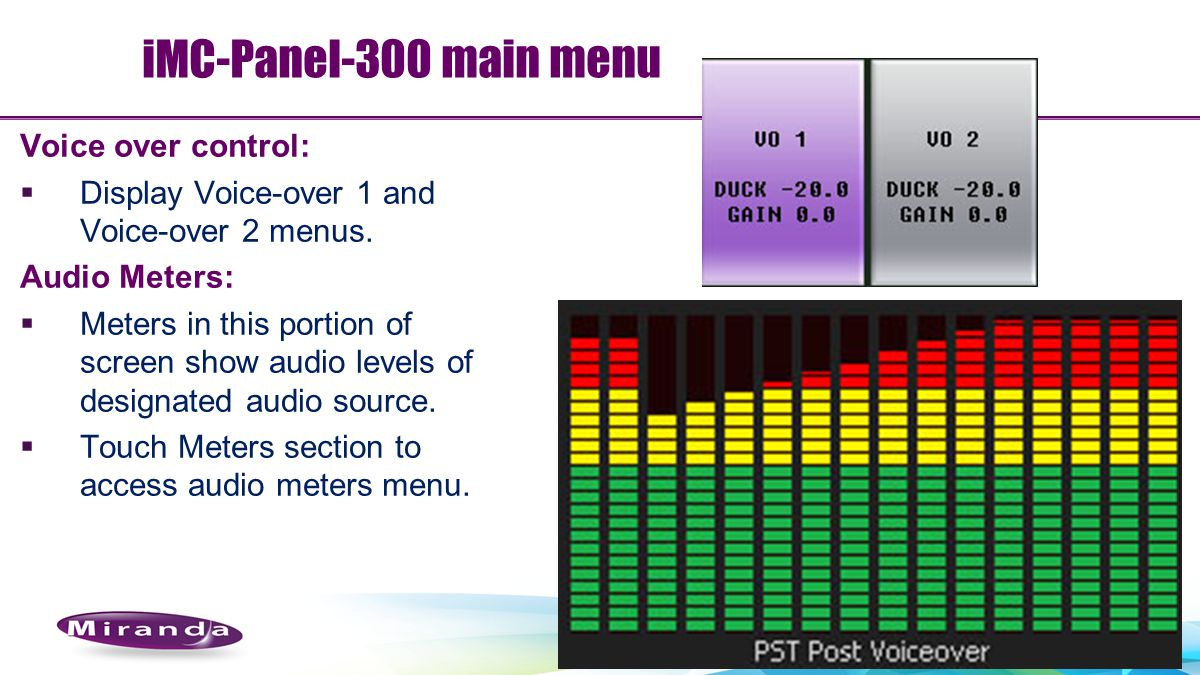 iMC-Panel-300 main menu Voice over control: