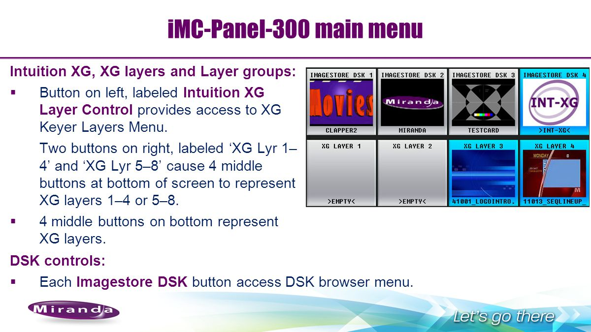 iMC-Panel-300 main menu Intuition XG, XG layers and Layer groups:
