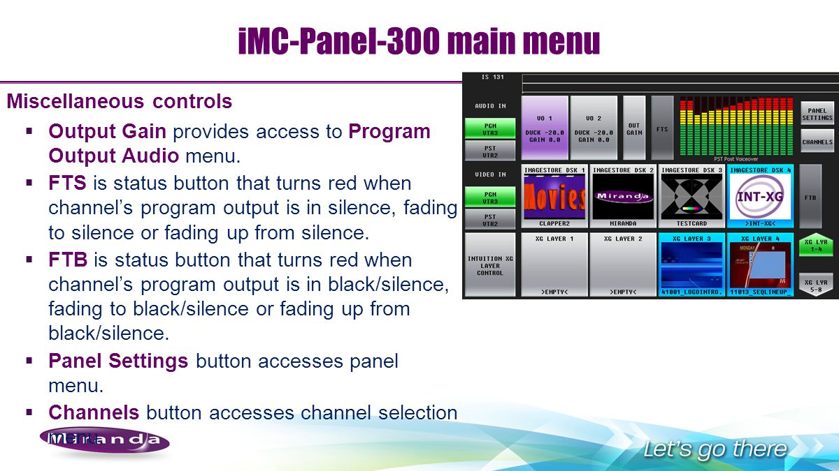 iMC-Panel-300 main menu Miscellaneous controls