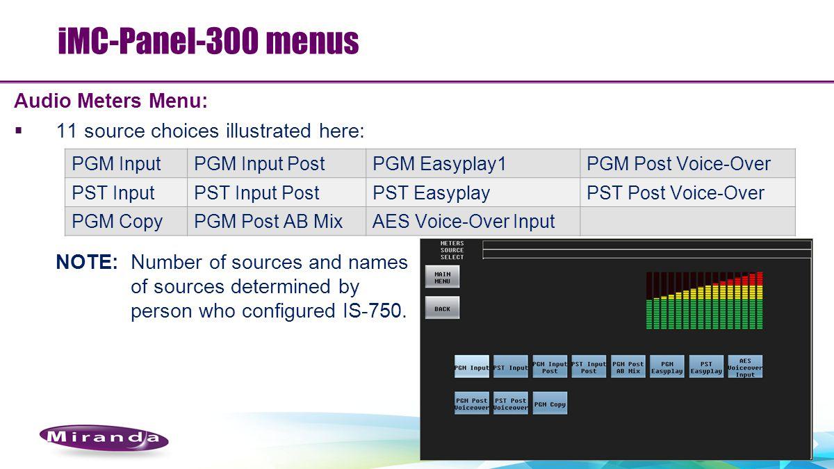 iMC-Panel-300 menus Audio Meters Menu: