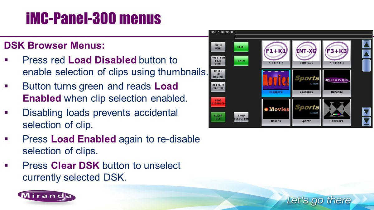 iMC-Panel-300 menus DSK Browser Menus: