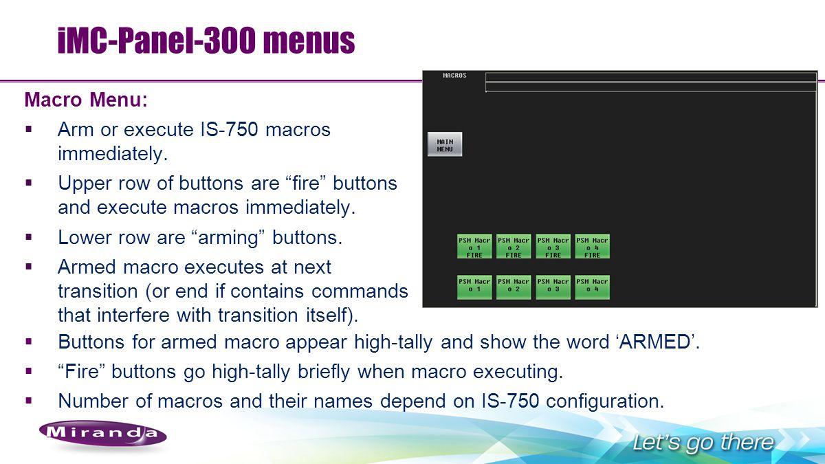 iMC-Panel-300 menus Macro Menu: