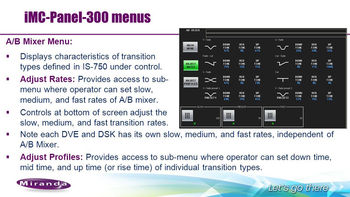 iMC-Panel-300 menus A/B Mixer Menu: