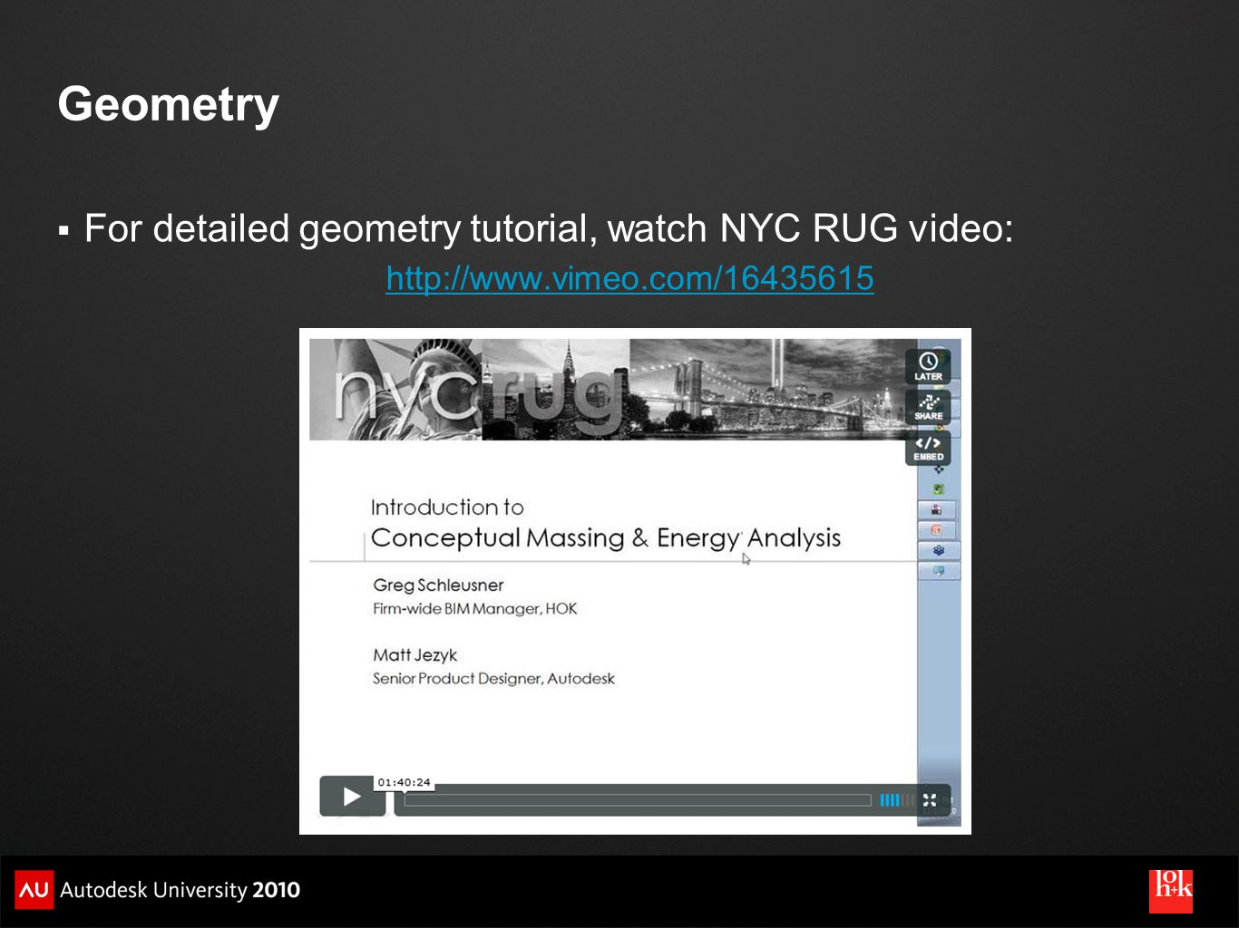 Geometry For detailed geometry tutorial, watch NYC RUG video:
