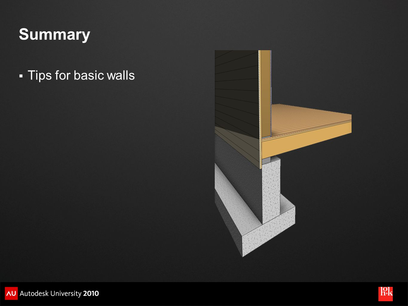 Summary Tips for basic walls