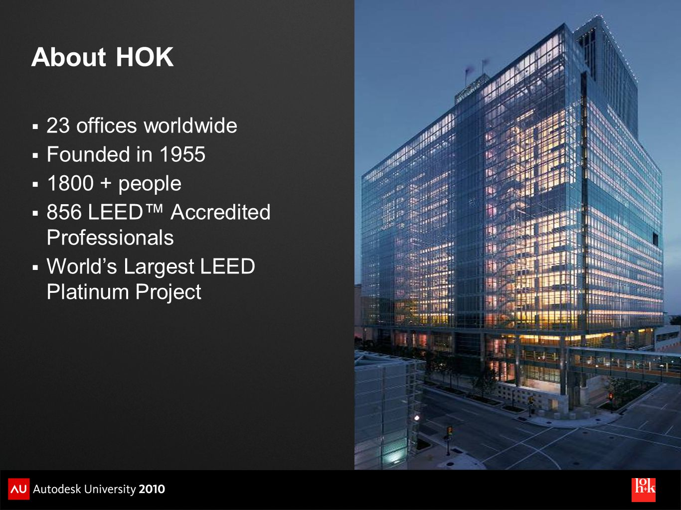About HOK 23 offices worldwide Founded in 1955 1800 + people