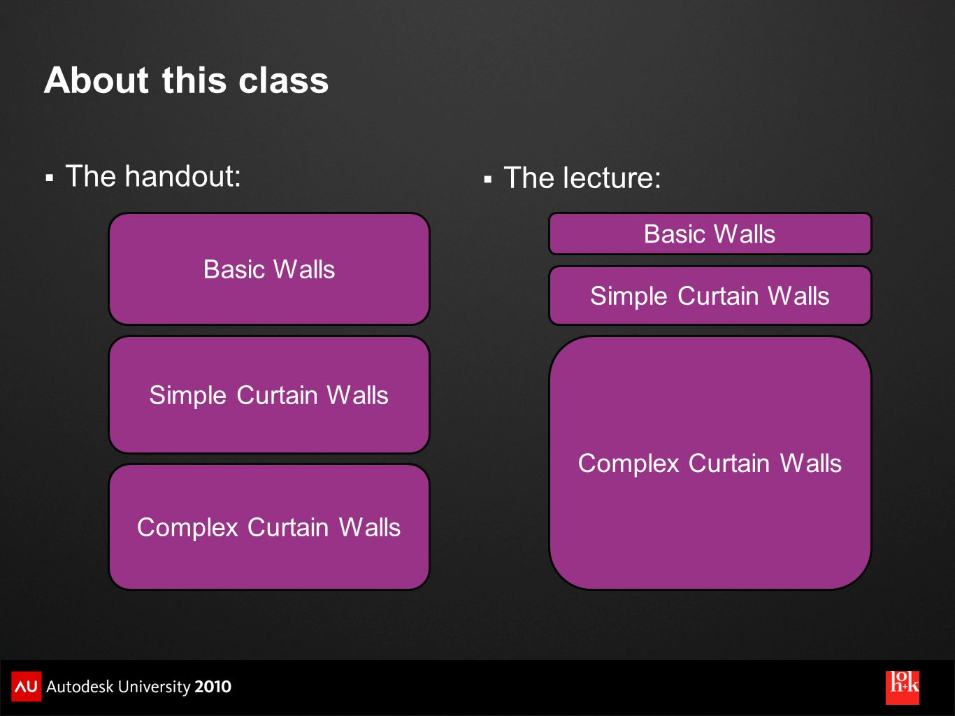 About this class The handout: The lecture: Basic Walls Basic Walls