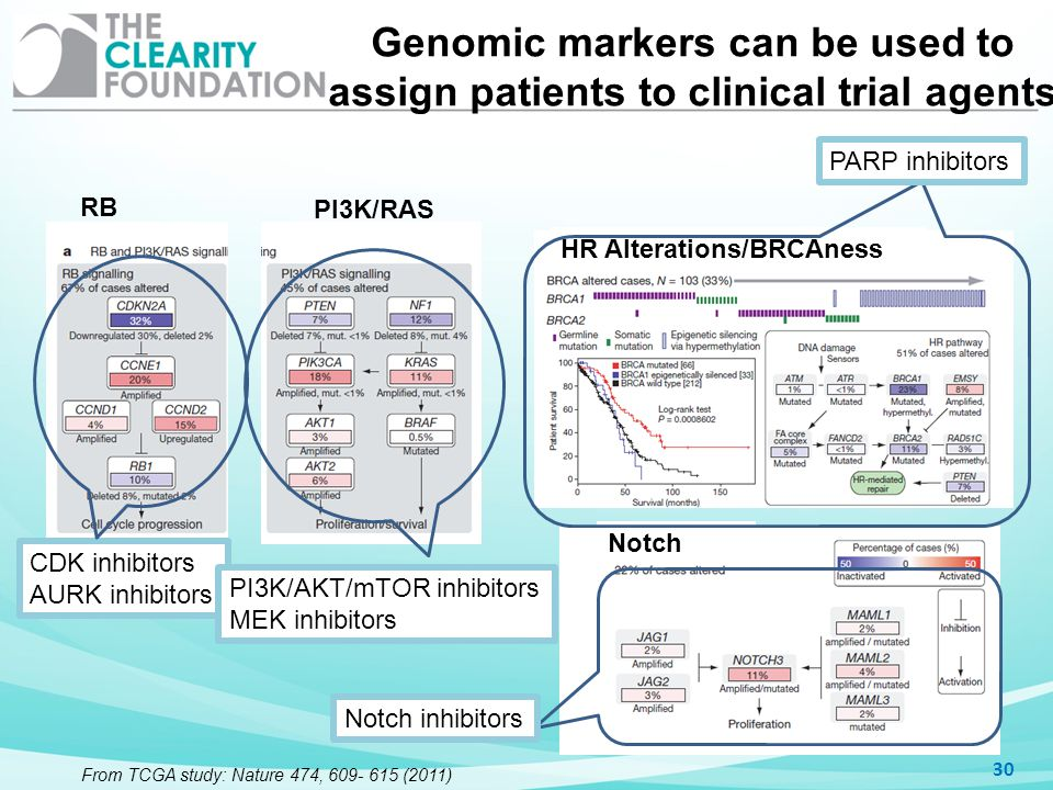 Genomic markers can be used to assign patients to clinical trial agents