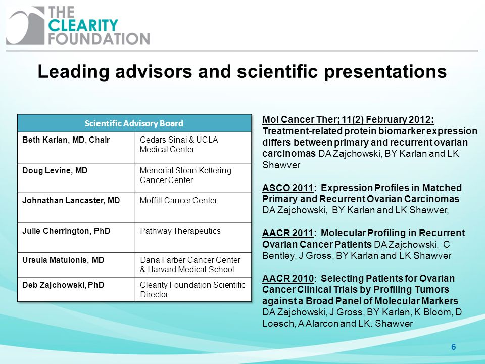 Leading advisors and scientific presentations