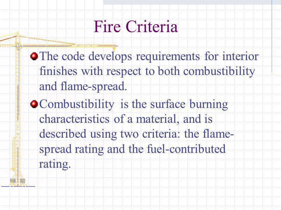 Fire Criteria The code develops requirements for interior finishes with respect to both combustibility and flame-spread.