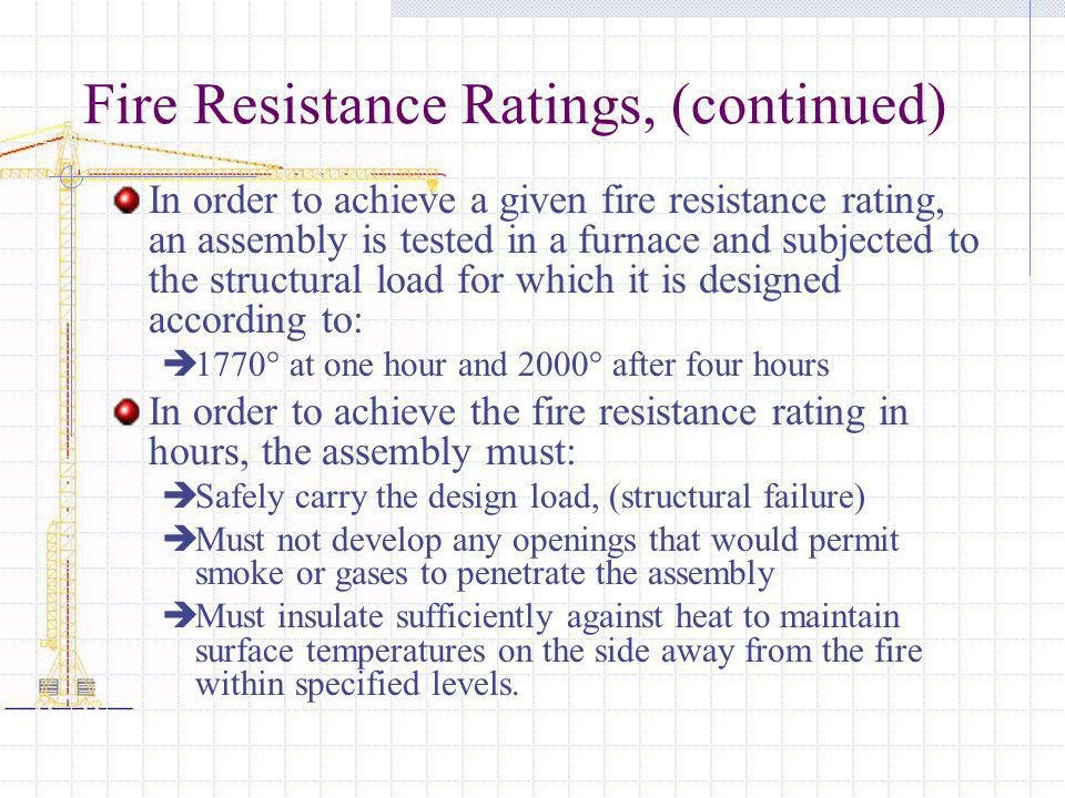 Fire Resistance Ratings, (continued)