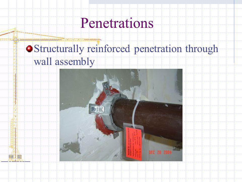 Penetrations Structurally reinforced penetration through wall assembly