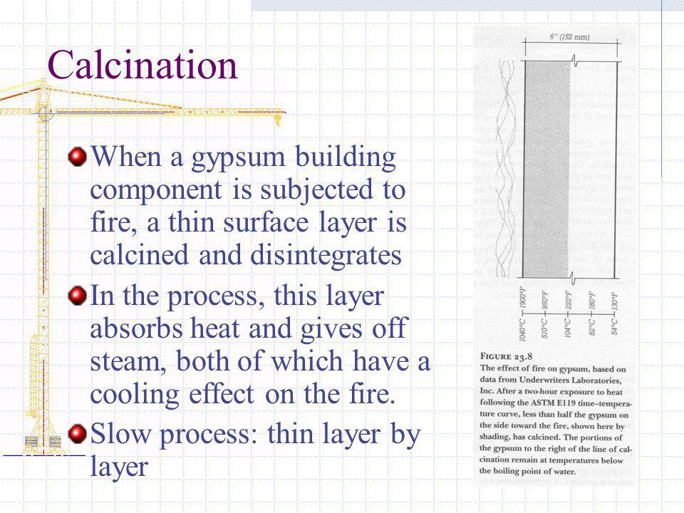 Calcination When a gypsum building component is subjected to fire, a thin surface layer is calcined and disintegrates.