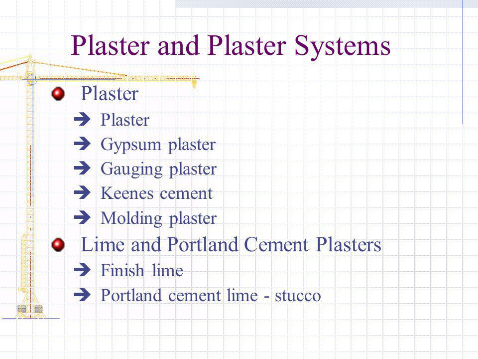 Plaster and Plaster Systems